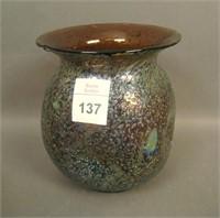 Dugan Amethyst Frit Bulbous Pinched Vase