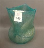 Dugan Aqua Frit Bulbous Three Peaks Vase