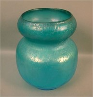 Dugan Harding Blue Venetian Line Rolled Top Vase