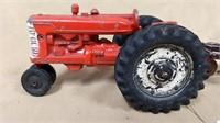 Slik Toy tractor with Ertl 3 bottom plow