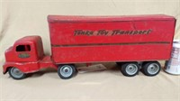 Metal Tonka Toys Transport semi truck and trailer