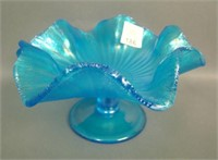 Fenton Celeste Blue Stretch Stippled Rays Compote