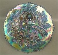 Fenton Blue Peacock at Urn Plate