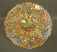 Fenton Dk. Marigold Peacock at Urn Plate