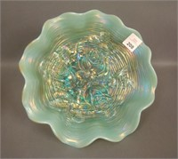 N'Wood Aqua Opal Rose Show Ruffled Bowl