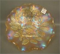 "N""wood Pastel Marigold Peacock @ Urn Ruffled Bowl"