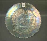 N'Wood Ice Blue Peacocks Plate