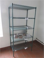 Section of Green Coated Shelving w/ Asst Inserts