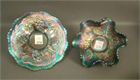 Pair of Fenton Blue Pinecone Items