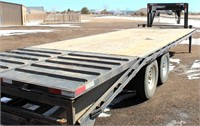 "2003 Big Bubbas Trl Mfg, FB, GN, 101"" x 25', 2- 7k lb axles, flip-up dovetail, ramps (view 1)"