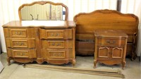 Old/Heavy Dresser, Mirror, Head & Foot Boards, Rails, Night Stand