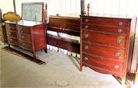 Old/Heavy Dresser, Mirror, 4- Poster Head & Foot Boards, Rails, Chest of Drawers (view 2)
