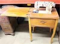 White Sewing Machine w/Cabinet (view 1)