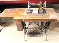 #G695-9575 Singer Treadle Sewing Machine w/Cabinet (view 1)