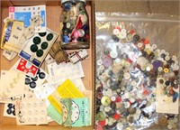 Box/Bag of Vintage Buttoms, Sewing Misc
