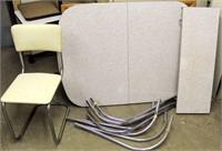 Enamel Top Table, Legs, Leaf & 1-Chair