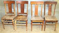 4- Vintage Wood Kitchen Chairs (need restoration)