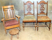 2- Vintage Wood Dining; Wood Rocker; Foot Stool (need restoration)