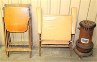 2- Wood Folding Chairs, Folding Padded Chair, Vintage Heater