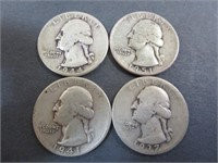 (4) Washington Quarters 90% Silver