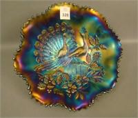 N'Wood Purple Peacocks Ruffled Bowl