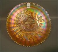 N'Wood Marigold Peacocks Plate