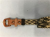 Horse hair belt, with leather buckle, size 36