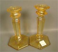 Pair of Marigold Paneled Candlesticks