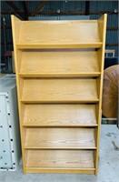 OAK Shelf w/ Slanted Shelves, Book/ Mag Shelf