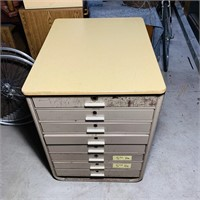 8 Drawer Cabinet, Wood Top, Very heavy
