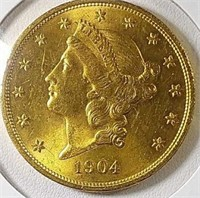 1904 $20 Gold MS63