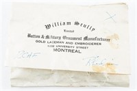 William Scully Partial Pkg (15) RCAF King's Crown,