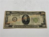 $20 bill Green Seal Star Note F
