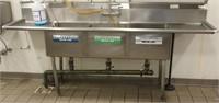 John Boos Model E3S8-18-12T18-X triple well sink