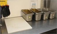 (8) SS hotel pans, 2 plastic pans