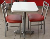"""Pedestal table with 2 chairs, 23"""" x 28"""" x 30""""H"""