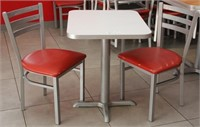 "(2)Pedestal tables with 4 chairs, 23"" x 28"" x 30""H"