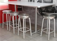 """Table, 84""""x 36""""x 42""""H, with 4 Alu. spin top stools"""