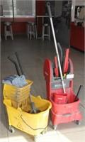 2 mop buckets with mops & window squeegies