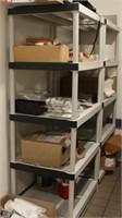 (4) 5 shelf plastic shelf units & (1) 2 shelf unit