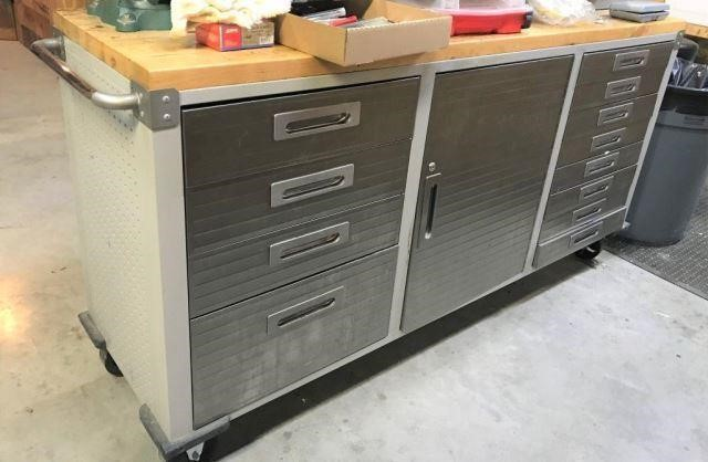 Rolling Wood Top Tool Cabinet