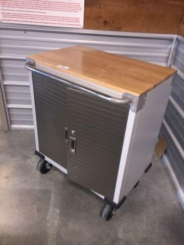 2 Door Wood Top Rolling Cabinet