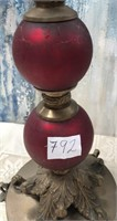 792 - GORGEOUS ANTIQUE PAIR OF RED CANDLE ABRAS