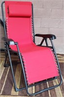C - NEW RED PATIO RECLINING CHAIR W/PILLOW