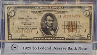 1929 $5 DOLLAR FEDERAL RESERVE BANK NOTE