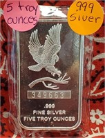 5 TROY OUNCES OF .999 FINE SILVER BAR
