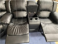 NEW BLACK SECTIONAL SOFA W/ 4 RECLINERS