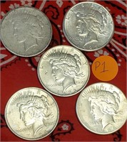 LOT OF 5 SILVER PEACE DOLLARS (P1)