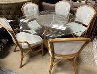 714 - BEAUTIFUL OCTOGON GLASS TABLE W/5 CHAIRS