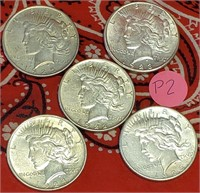 LOT OF 5 SILVER PEACE DOLLARS (P2)